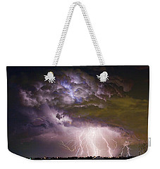 Highway 52 Storm Cell - Two And Half Minutes Lightning Strikes Weekender Tote Bag by James BO  Insogna