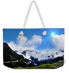 Weekender Tote Bag featuring the photograph Highway Through The Andes - Painting by Al Bourassa