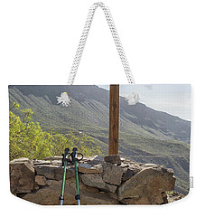 Hiking Poles Resting Near Sign Weekender Tote Bag by Patricia Hofmeester