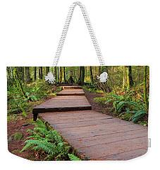 Hiking Trail Wood Walkway In Lynn Canyon Park Weekender Tote Bag
