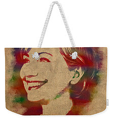 Hillary Rodham Clinton Watercolor Portrait Weekender Tote Bag by Design Turnpike