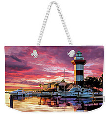 Weekender Tote Bag featuring the painting Hilton Head Harbour Town Lighthouse by Christopher Arndt