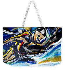 Weekender Tote Bag featuring the painting Him Swim by John Jr Gholson