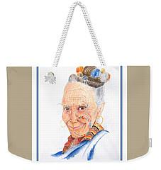 Himalayan Smile Lines -- Portrait Of Old Asian Woman Weekender Tote Bag