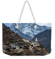 Weekender Tote Bag featuring the photograph Himalayan Yak Train by Mike Reid