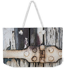Weekender Tote Bag featuring the photograph Hinge On Old Shutters by Elena Elisseeva