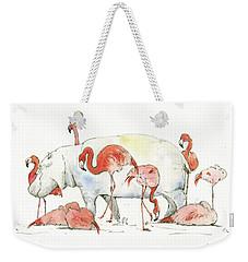 Hippo And Flamingos Weekender Tote Bag