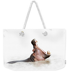 Hippo Mouth Wide Open Isolated On White Weekender Tote Bag