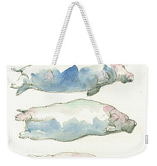 Hippo Swimming Study Weekender Tote Bag