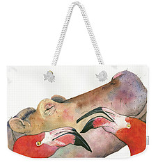Hippo With Flamingos Heads Weekender Tote Bag