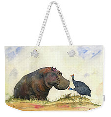 Hippo With Guinea Fowls Weekender Tote Bag