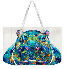 Hippopotamus Art - Happy Hippo - By Sharon Cummings Weekender Tote Bag by Sharon Cummings