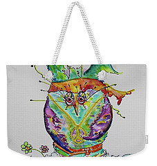 Hippy Owl- Vertical Format Weekender Tote Bag
