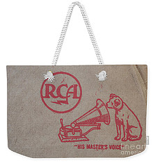 Weekender Tote Bag featuring the photograph His Masters Voice Rca by Edward Fielding