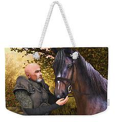 Weekender Tote Bag featuring the digital art His Noble Steed by Jayne Wilson