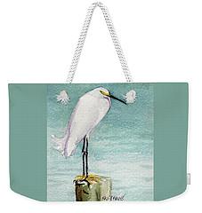 Weekender Tote Bag featuring the painting His Post by Kris Parins