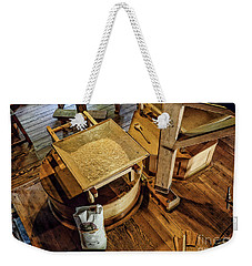 Weekender Tote Bag featuring the digital art Historic Bale Mill by Jason Abando