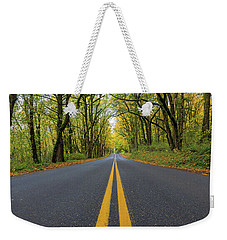Historic Columbia River Highway Two Way Lanes In Fall Weekender Tote Bag