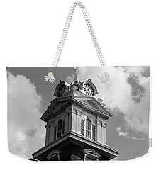 Weekender Tote Bag featuring the photograph Historic Courthouse Steeple In Bw by Doug Camara