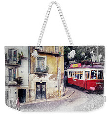 Weekender Tote Bag featuring the painting Historic Lisbon Tram by Chris Armytage