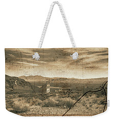 Weekender Tote Bag featuring the digital art Historic Rhyolite Nevada With Map by Bartz Johnson
