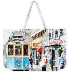 Weekender Tote Bag featuring the painting Historic Stockholm Tram by Chris Armytage