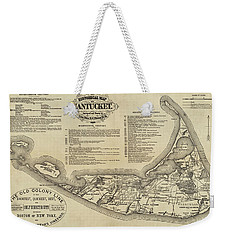 Historical Map Of Nantucket From 1602-1886 Weekender Tote Bag