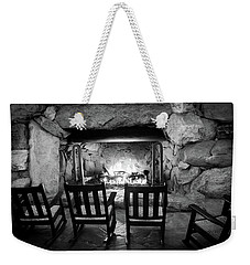 Weekender Tote Bag featuring the photograph Winter Warmth In Black And White by Karen Wiles