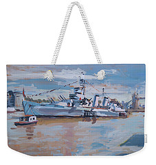 Weekender Tote Bag featuring the painting Hms Belfast Shows Off In The Sun by Nop Briex