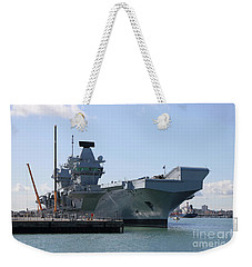 Hms Queen Elizabeth Aircraft Carrier At Portmouth Harbour Weekender Tote Bag