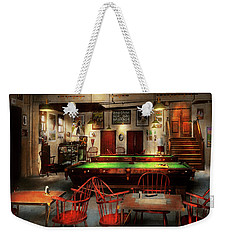 Weekender Tote Bag featuring the photograph Hobby - Pool - The Billiards Club 1915 by Mike Savad