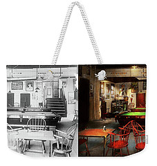 Weekender Tote Bag featuring the photograph Hobby - Pool - The Billiards Club 1915 - Side By Side by Mike Savad