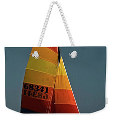 Weekender Tote Bag featuring the photograph Hobie Cat In Surf by Sally Weigand