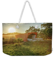 Weekender Tote Bag featuring the photograph Hogback Covered Bridge 2 by Susan Rissi Tregoning