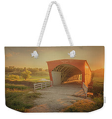 Weekender Tote Bag featuring the photograph Hogback Covered Bridge by Susan Rissi Tregoning