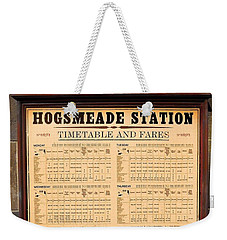 Weekender Tote Bag featuring the photograph Hogsmeade Station Timetable by Juergen Weiss