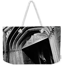 Weekender Tote Bag featuring the mixed media Hogwards Door  by Gina Dsgn
