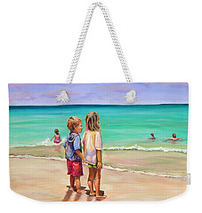 Weekender Tote Bag featuring the painting Holding Hands by Patricia Piffath