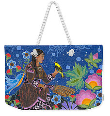 Weekender Tote Bag featuring the painting Hole In The Sky's Daughter by Chholing Taha