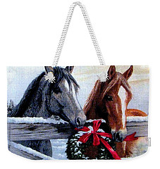 Weekender Tote Bag featuring the photograph Holiday Barnyard by Judyann Matthews