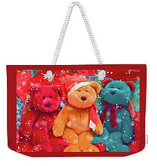 Weekender Tote Bag featuring the photograph Holiday Bears by Diane Alexander