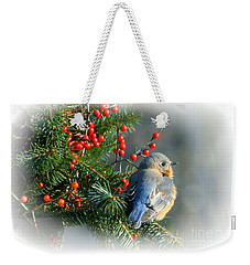 Holiday Blue Bird Weekender Tote Bag