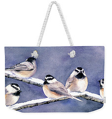 Holiday Chickadees Weekender Tote Bag