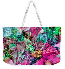 Weekender Tote Bag featuring the photograph Holiday Floral Composite by Janice Drew