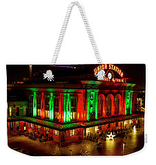 Holiday Lights At Union Station Denver Weekender Tote Bag by Teri Virbickis