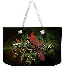 Holiday Red Cardinal Weekender Tote Bag