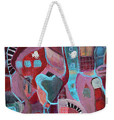 Weekender Tote Bag featuring the painting Holiday Windows by Susan Stone