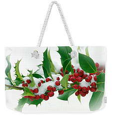 Weekender Tote Bag featuring the photograph Holly Berries On White by Sharon Talson