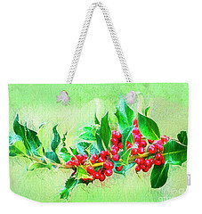 Weekender Tote Bag featuring the photograph Holly Berries Photo Art by Sharon Talson