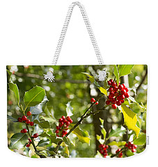 Weekender Tote Bag featuring the photograph Holly With Berries by Chevy Fleet